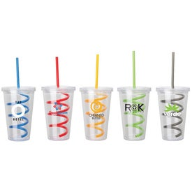 Printed Double Wall AS Tumbler with Straw