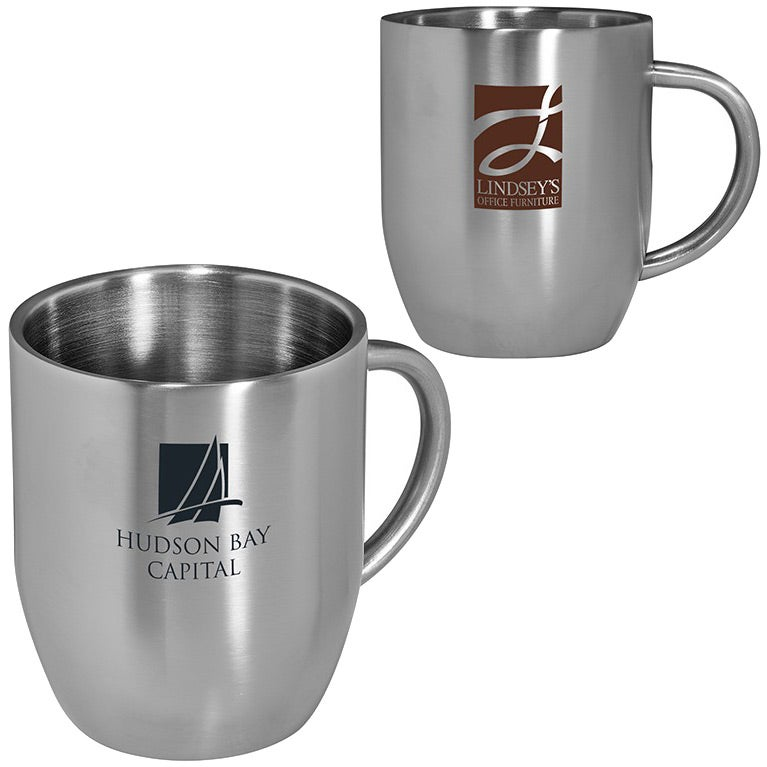 Silver Double Wall Stainless Steel Coffee Mug 12 Oz Customized