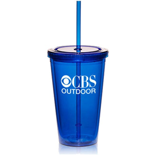 Translucent Blue Double Wall Tumbler with Candy