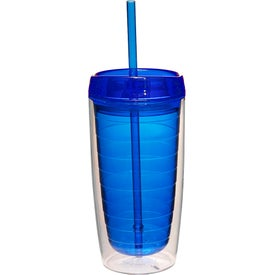 Double Wall Tumbler with Straw (16 Oz.)