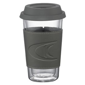 Logo Double Wall Glass Tumbler with Wrap