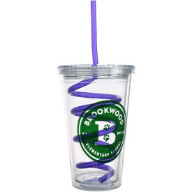 Promotional Double Wall Tumbler with Twisty Straw