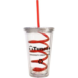 Printed Double Wall Tumbler with Twisty Straw
