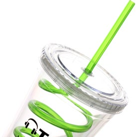 Branded Double Wall Tumbler with Twisty Straw