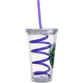 Double Wall Tumbler with Twisty Straw Imprinted with Your Logo
