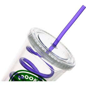 Double Wall Tumbler with Twisty Straw Branded with Your Logo
