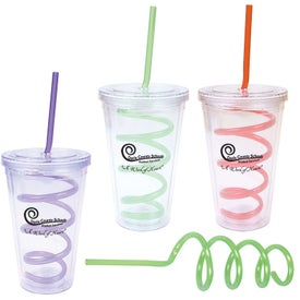 Double Wall Tumbler with Twisty Straw with Your Slogan