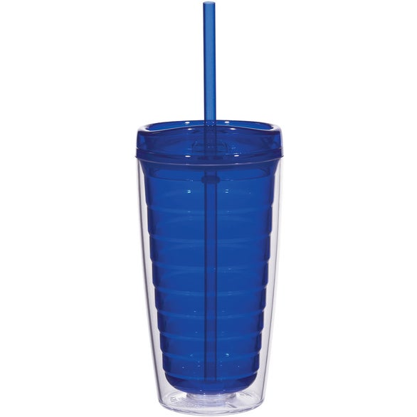 Blue Econo Double Wall Tumbler with Lid And Straw