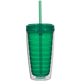 Printed Econo Double Wall Tumbler with Lid And Straw
