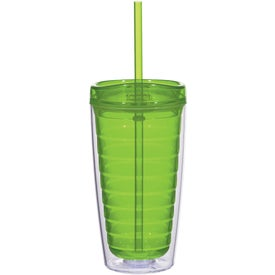 Imprinted Econo Double Wall Tumbler with Lid And Straw