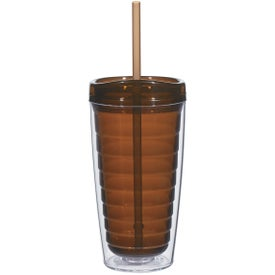 Custom Econo Double Wall Tumbler with Lid And Straw