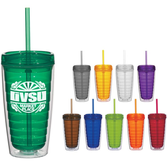 Econo Double Wall Tumbler with Lid And Straw