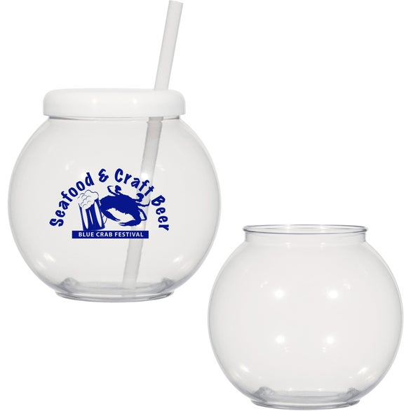 Promotional fish bowl cup with straws with custom logo for for Fish bowl cups
