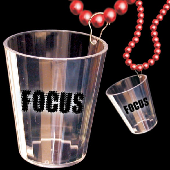Red / Clear Focus Shot Glass Bead Necklace