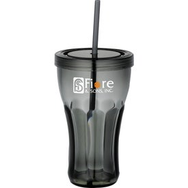 Imprinted Fountain Soda Tumbler with Straw