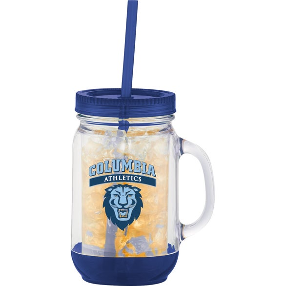 Clear / Blue Game Day Double Wall Mason Jar