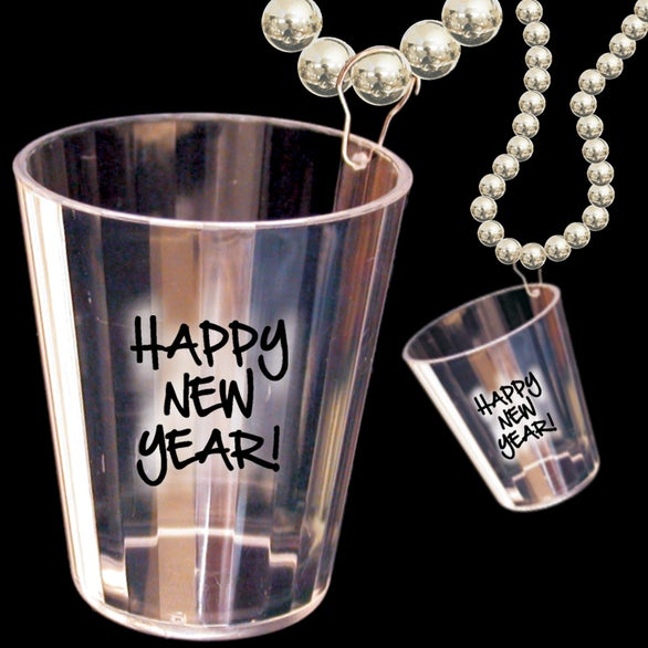 Silver / Clear Happy New Year Shot Glass Bead Necklace
