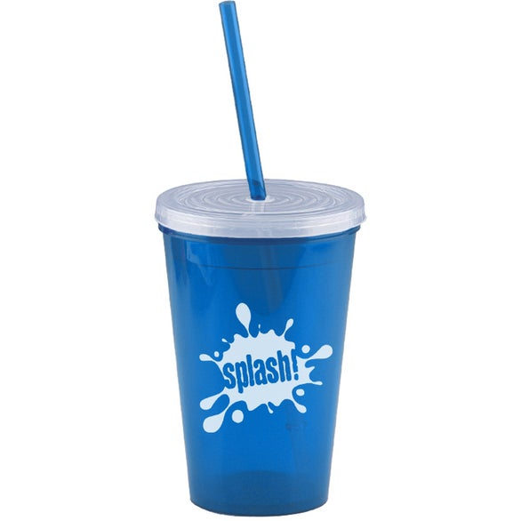 Translucent Blue Insulated Straw Tumbler