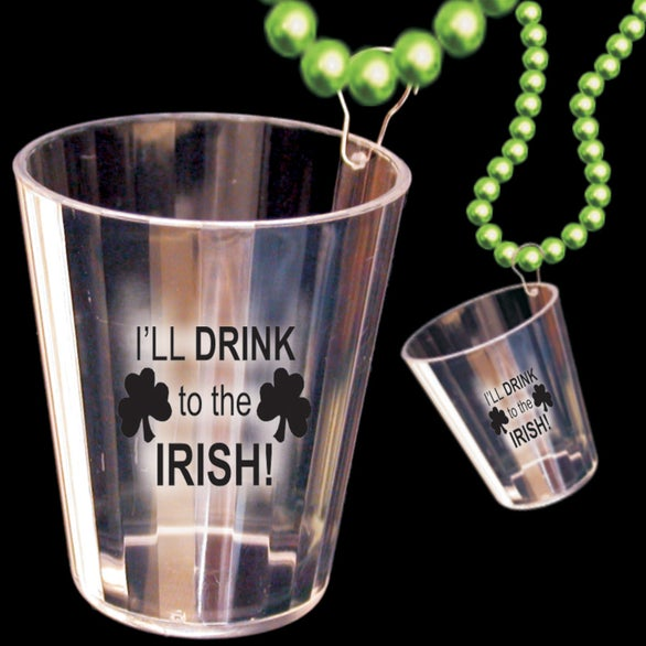 Green / Clear Irish Shot Glass Bead Necklace