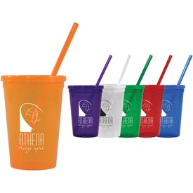 Jewel Tumblers with Straw and Lid (16 Oz.)