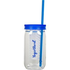 Mason Jar with Infuser and Straw (20 Oz.)
