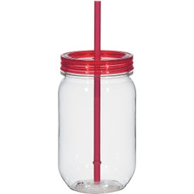 Logo Mason Jar with Matching Straw