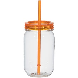 Imprinted Mason Jar with Matching Straw