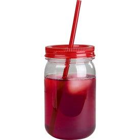 Promotional Mason Jar with Matching Straw