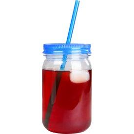Logo Mason Jar with Matching Straw
