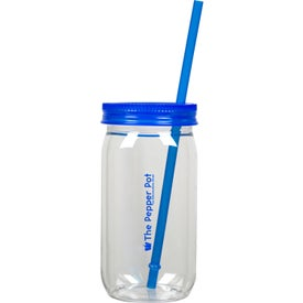 Mason Jar with Straw (20 Oz.)