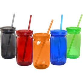 Mason Jar with Straw and Lid (21 Oz.)