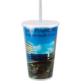 Maxcolor Stadium Cup With Lid and Straw Printed with Your Logo