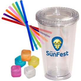 Party Sturdy Sipper and Ice Cubes Set (16 Oz.)
