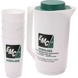 Pitcher with Lid and Set of 4 Tumblers for Advertising