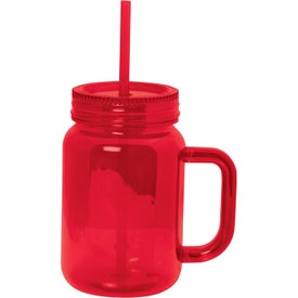 Plastic Mason Jar With Handle Branded with Your Logo