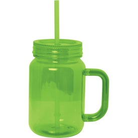 Printed Plastic Mason Jar With Handle
