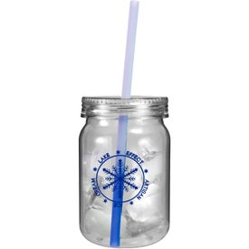 Monogrammed Plastic Mason Jar with Mood Straw