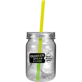 Plastic Mason Jar with Mood Straw for Customization
