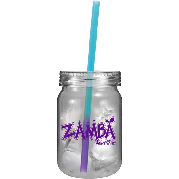 Clear Jar with Blue to Purple Straw Plastic Mason Jars with Mood Straw