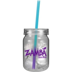 Plastic Mason Jar with Mood Straw Branded with Your Logo