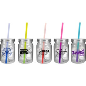 Plastic Mason Jar with Mood Straw with Your Logo