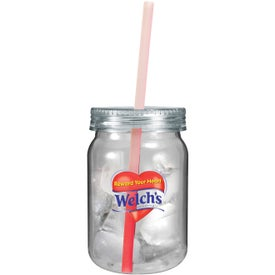 Personalized Plastic Mason Jar with Mood Straw