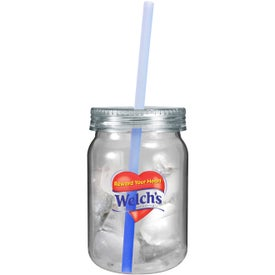 Customized Plastic Mason Jar with Mood Straw