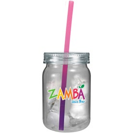 Branded Plastic Mason Jar with Mood Straw