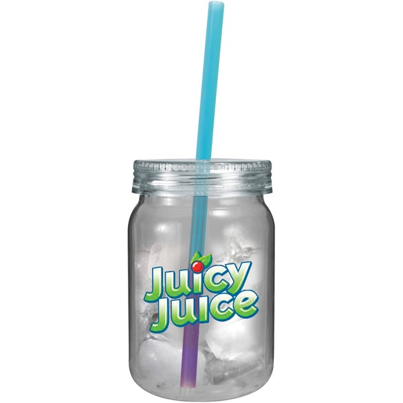 Clear Jar with Blue to Purple Straw Plastic Mason Jar with Mood Straw