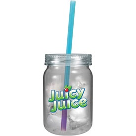 Plastic Mason Jar with Mood Straw Printed with Your Logo