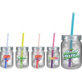 Plastic Mason Jar with Mood Straw (Full Color 24 Oz.)