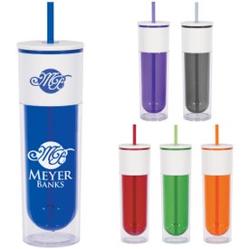Branded Quench Bottle with Lid and Straw