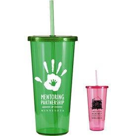 Single Wall Tumbler with Straw for Your Organization