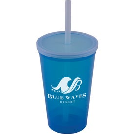 Logo Stadium Cup With Lid And Straw